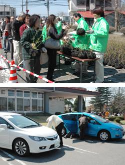 苗木の無償配布会開催 ハイブリッド車、6台も展示